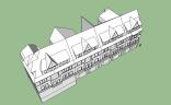 Rekonstruktion Vier Giebel Haus am Viadukt von Westen (Vogelperspektive)