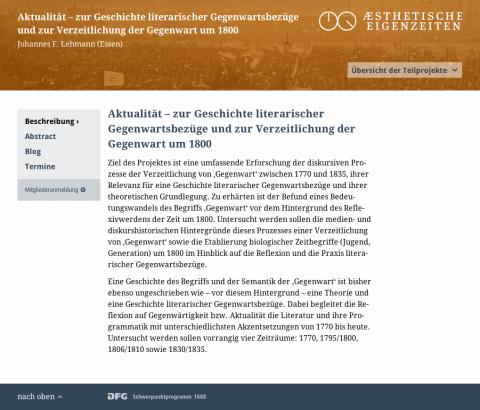 Website DFG-Schwerpunktprogramm 1688 »Ästhetische Eigenzeiten. Zeit und Darstellung in der polychronen Moderne«