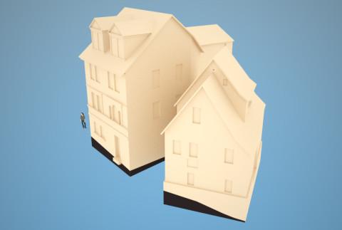 Häuser »Am Viadukt 7 und 9«, rohes Modell