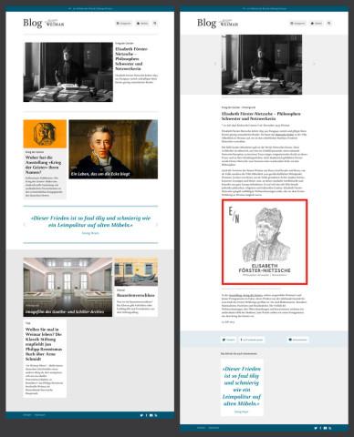 Blog der Klassik Stiftung Weimar· Startseite und Detailseite