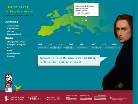 Website zum Lisztjahr 2011 (Franz Liszt – Ein Europäer in Weimar)