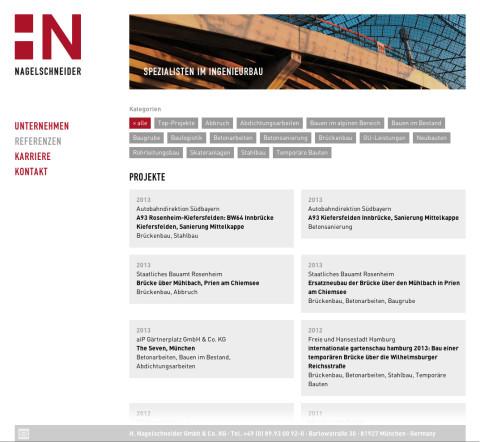 Website für die Münchener Bauunternehmung Nagelschneider