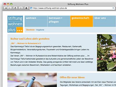 Stiftung Wohnen Plus Website