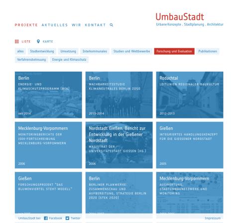 Website UmbauStadt: Projektübersicht